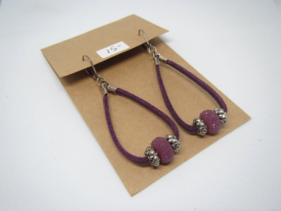 Purple Loop Leather Earrings