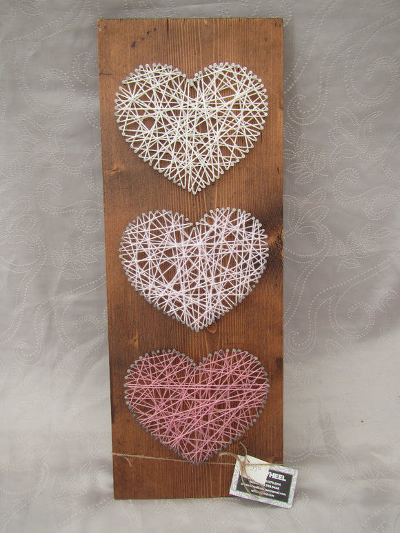 Pink Hearts String Art