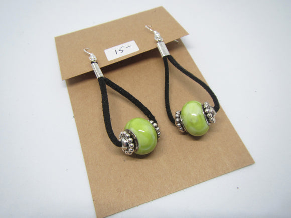 Lime Loop Leather Earrings