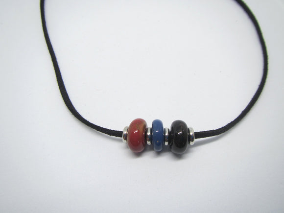 Red, Blue & Black Leather Necklace