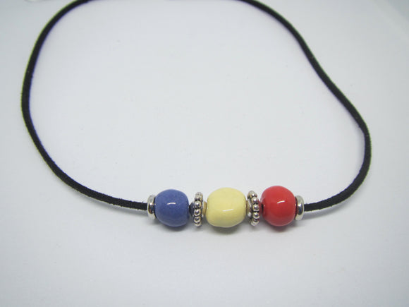 Blue, Yellow & Red Leather Necklace