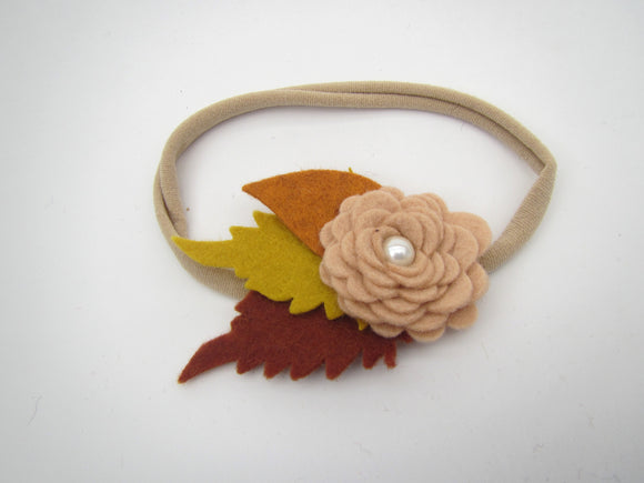Pink Flower With Fall Leaves Headband