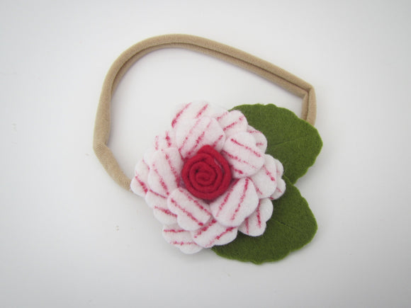 White & Red Strip Flower Headband