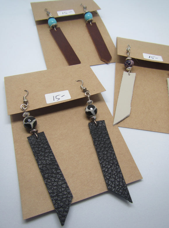 Leather Crystal Earrings