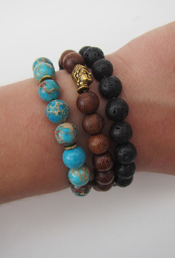 Wood, Lava Rock & Earth Three Bracelet Set
