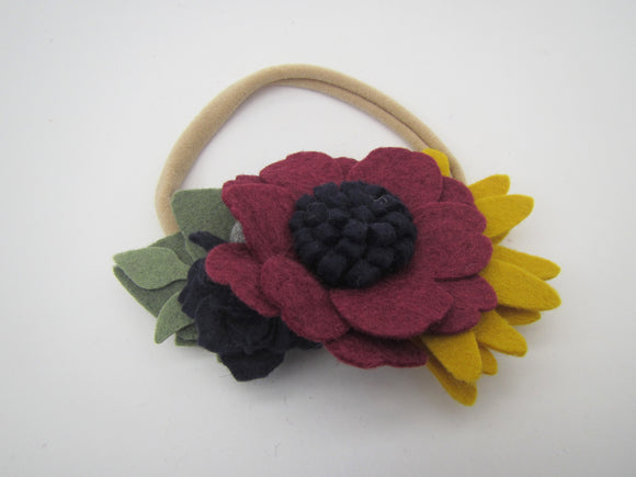 Burgundy, Navy & Yellow Flowers Headband