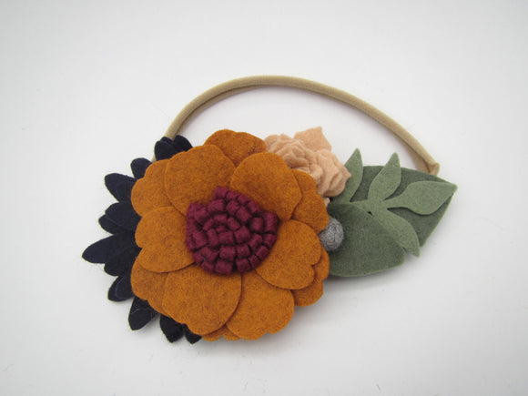 Orange, Red & Navy Flowers Headband
