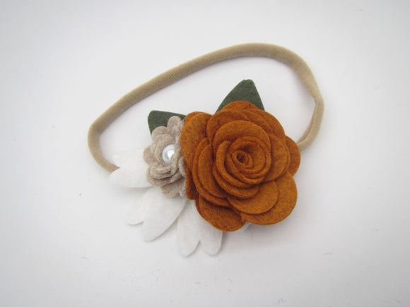 Orange, Grey & White Flower Headband