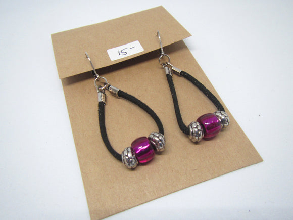 Purple & Silver Loop Leather Earrings