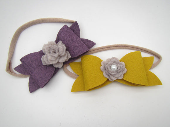 Bow & Grey Flower Headband