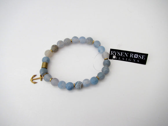 Agate Blue With Gold & Anchor