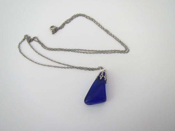 Blue Beach Glass Necklace