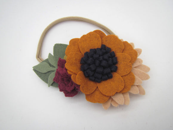 Orange, Navy & Red Flowers Headband