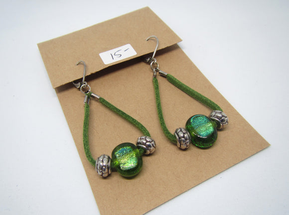 Green Loop Leather Earrings