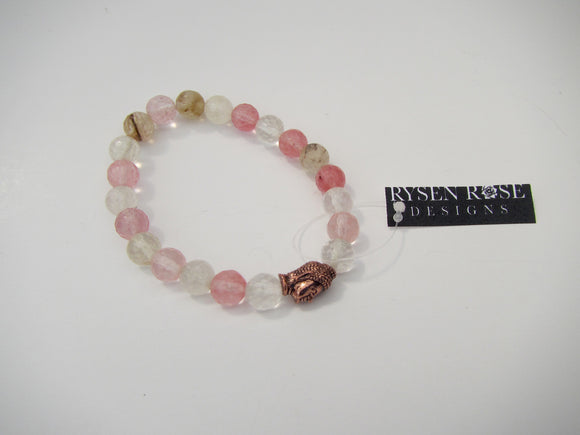 Cherry Quarts With Rose Gold Buddha Head