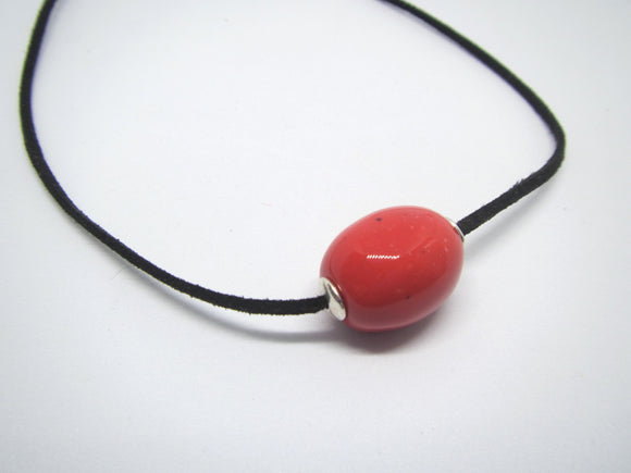 Red Bead Leather Necklace