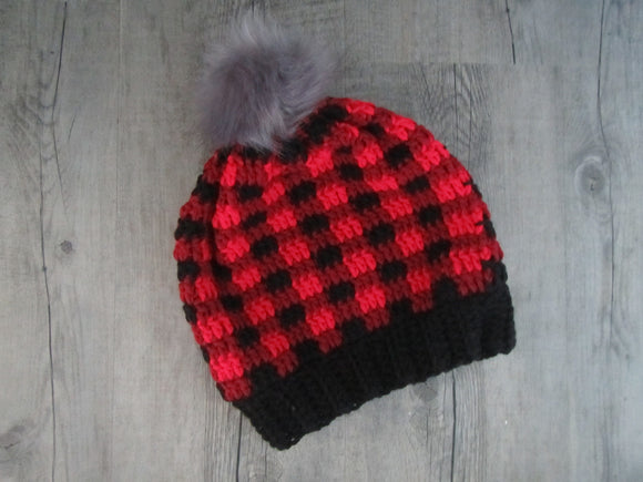 Buffalo Plaid Crochet Toque