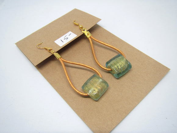 Gold & Green Leather Earrings