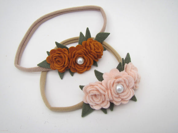 Trio Flower With Green Leaves Headband