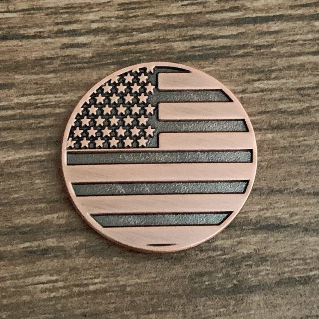 American Flag Copper Golf Ball Marker