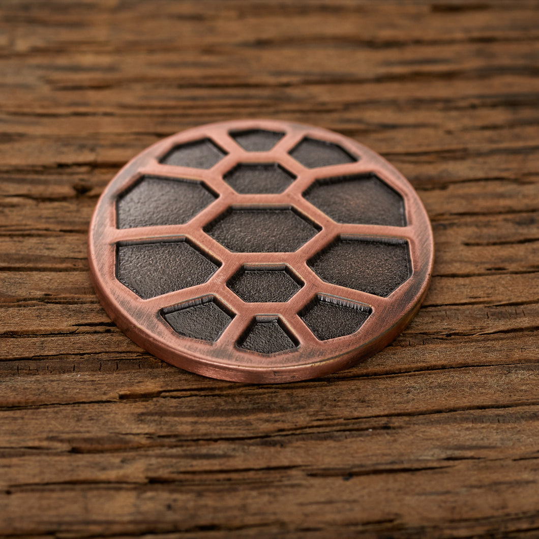 Turtle Shell Magnetic Golf Ball Marker | Copper | Full Metal Markers