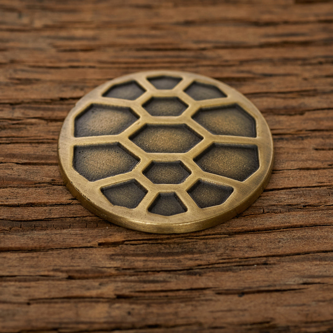 Turtle Shell Magnetic Golf Ball Marker | Brass | Full Metal Markers