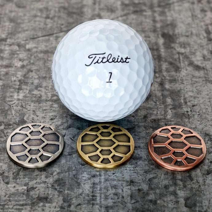 Turtle Shell Trio Magnetic Golf Ball Markers Set | Full Metal Markers