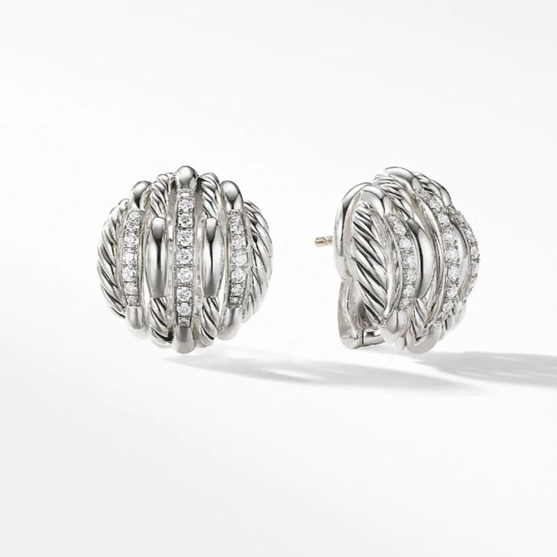 Tides Stud Earrings with Diamonds In  Sterling Silver