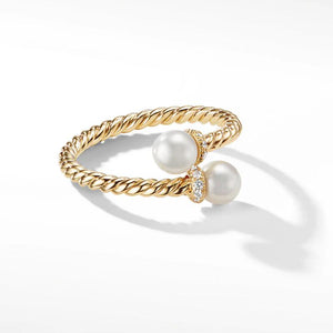 Yellow Gold Tone  Ring  With Cultured Pearl and Diamonds  In  Sterling Silver