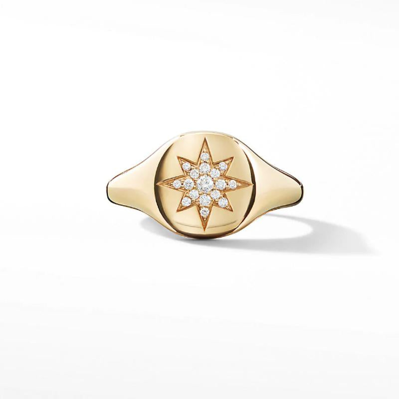 0.06 CT  Gold  Ring  With  Pavé  Diamond  In  925  Sterling  Silver