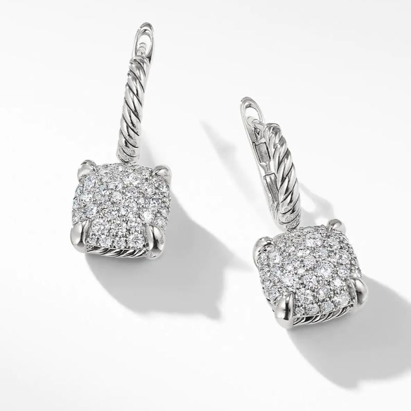 Drop Earrings with  1.28 CT  Round  Cut  Diamonds In  Sterling Silver