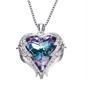 925  Sterling Silver  Heart of Ocean Crystal  Pendant Necklaces