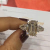 4.00 Ct 3 Stones  Emerald Cut Sterling Silver Engagement Ring