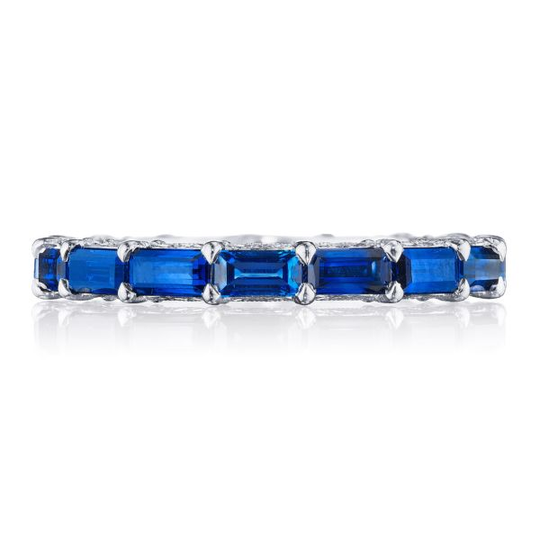 6.5 CT Emerald Cut Lab Created Sapphire With Round Cut Diamonds Eternity Band in Sterling Silver