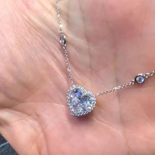 3.5 ct Halo Heart Cut Created White Sapphire Necklace In Sterling Silver