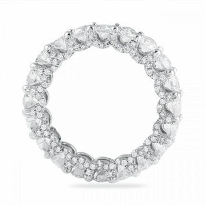 4.5 CT Round Cut Lab Created White Sapphire With Sided Paved Diamonds Eternity Ring in Sterling Silver