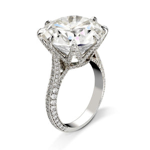 8 CT Round Cut Lab Created White Sapphire Engagement Ring in Sterling Silver