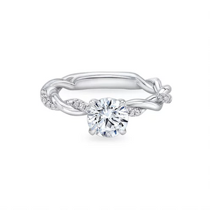 2.3CT Twist Round Cut Sterling Silver Engagement Ring