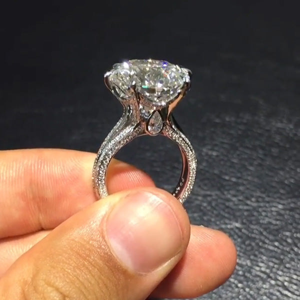 2.7CT Round Cut Sterling Silver Engagement Ring
