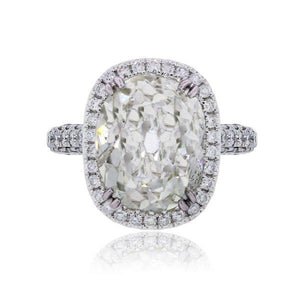 4.2CT Cushion Cut Sterling Silver Engagement Ring