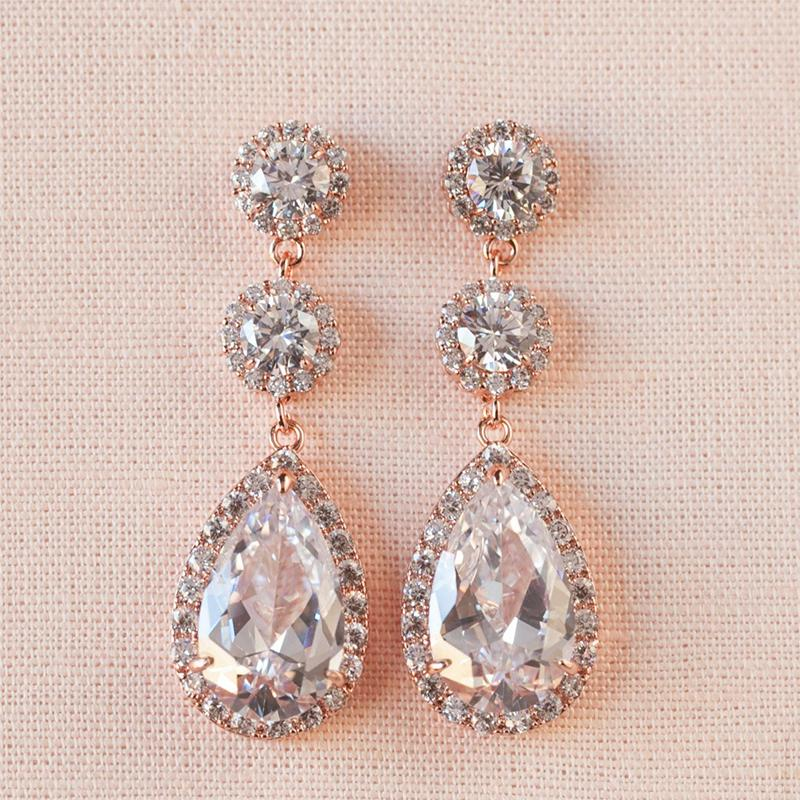 6.8 CT Pear Cut Long Bridal earrings  925 Sterling Silver Earrings Tear drops