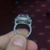3.8 CT Radiant Cut Sterling Silver Engagement Ring