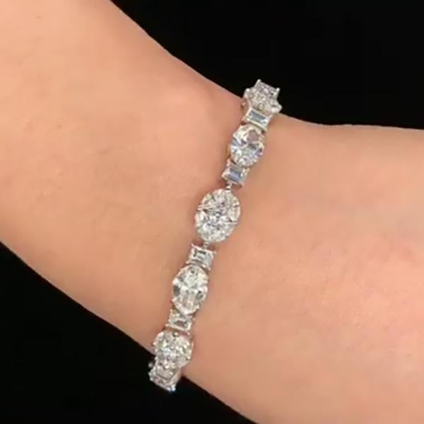 14.3 CT Bling Bling Lab-created White Sapphire Bracelet in 925 Sterling Silver