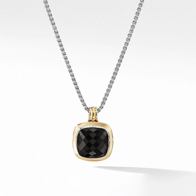 4.0 CT Lab Created Cushion Cut Black Diamond Unisex Pendant Necklace in Gold Tone Plated Sterling Silver