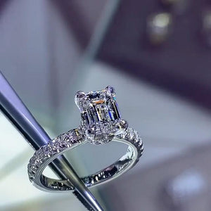 3.5 CT Emerald Cut Lab-created Diamond Engagement Ring in 925 Sterling Silver