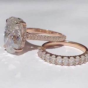 8.6 CT Oval Cut Halo Sterling Silver Engagement Ring Set In Rose Gold Tone