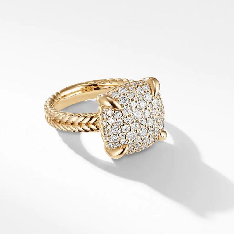 1.2 CT. T.W Ring with Diamonds in Yellow Gold Tone Sterling Silver