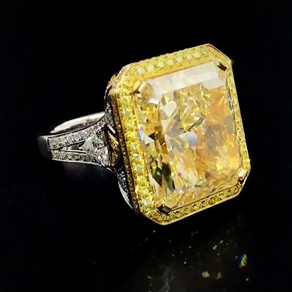 18 CT Emerald Cut Yellow Fancy Sterling Silver Engagement Ring