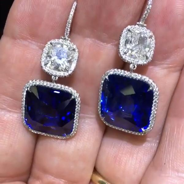 4.36 CT Cushion Cut Lab-created Blue Sapphire Diamond Dangle Earrings in 925 Sterling Silver