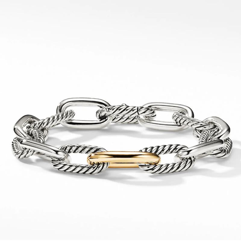 Two Tone Chain Design Bracelet in Sterling Silver